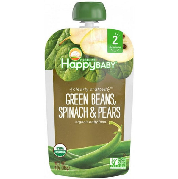 Happy Family Happy Baby Stage 2 Clearly Crafted - Green Beans Spinach & Pears, 113 g.