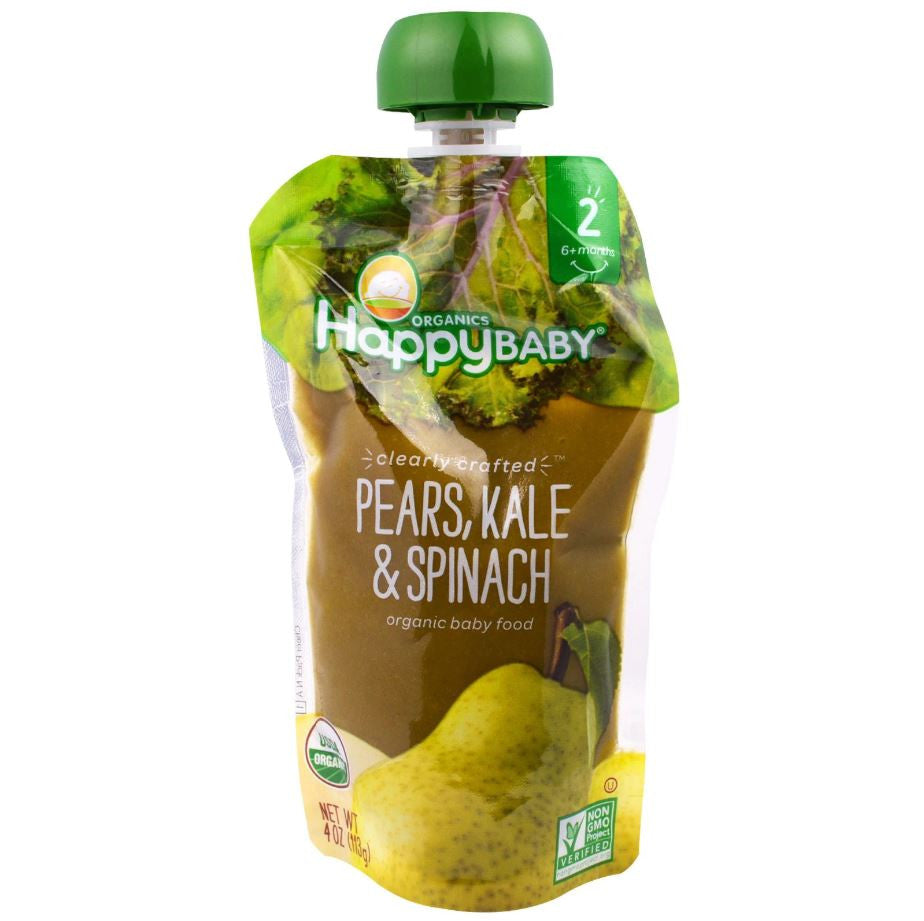 Happy Family Happy Baby Stage 2 Clearly Crafted - Pears Kale & Spinach, 113 g.-NaturesWisdom
