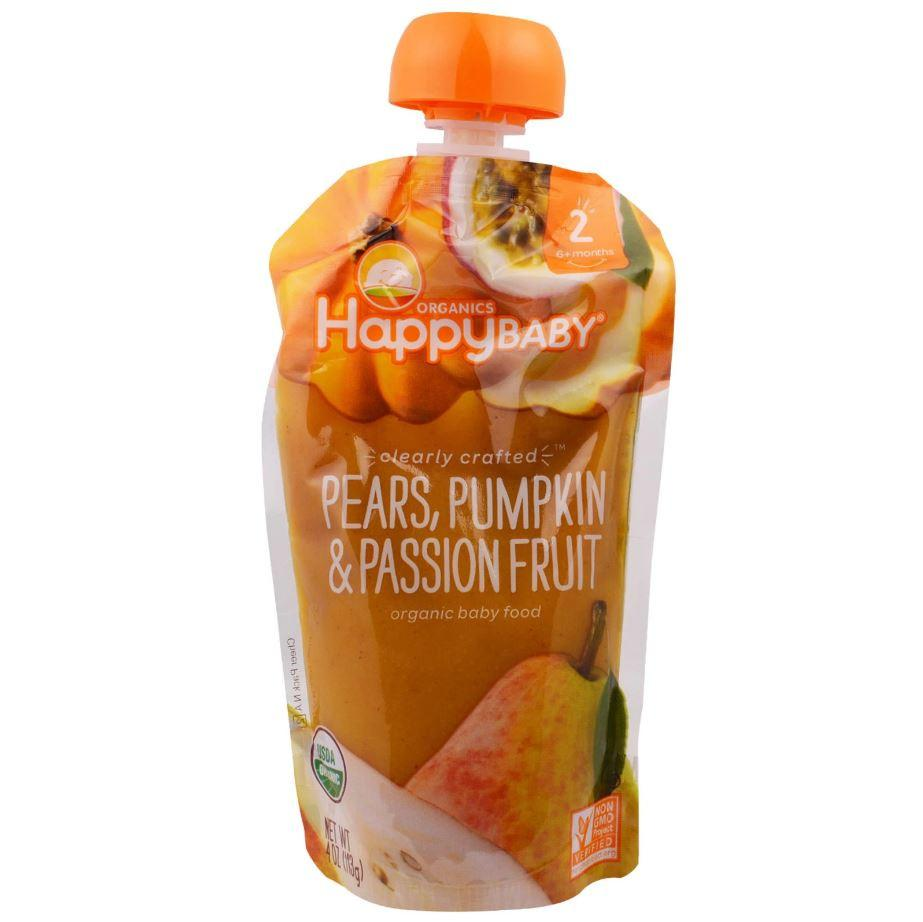 Happy Family Happy Baby Stage 2 Clearly Crafted - Pears Pumpkin & Passion Fruit, 113 g.-NaturesWisdom