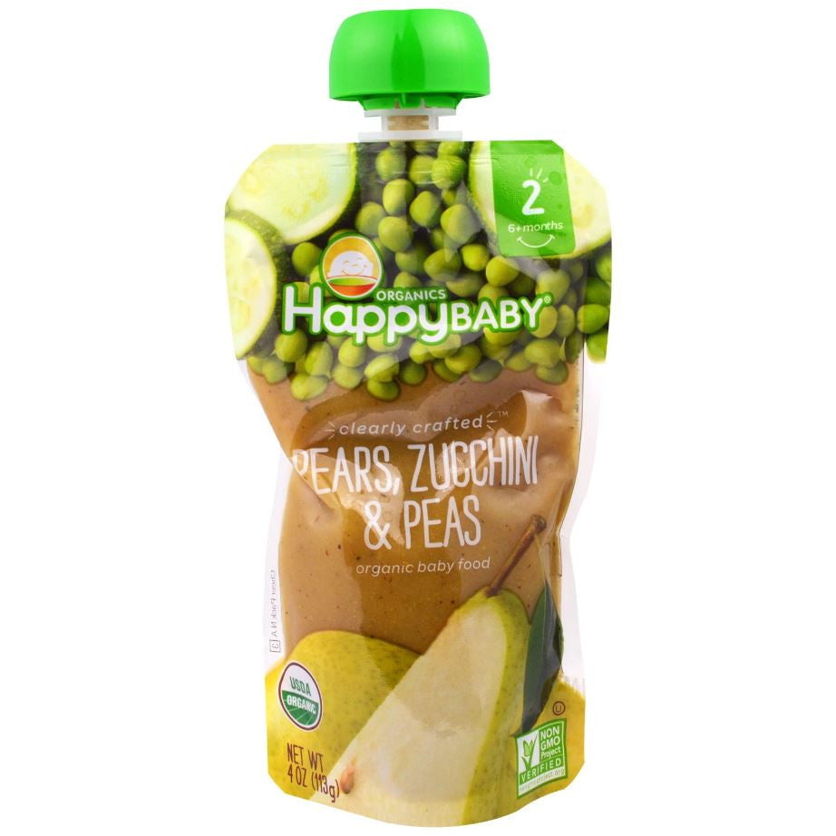 Happy Family Happy Baby Stage 2 Clearly Crafted - Pears Zucchini & Peas, 113 g.-NaturesWisdom