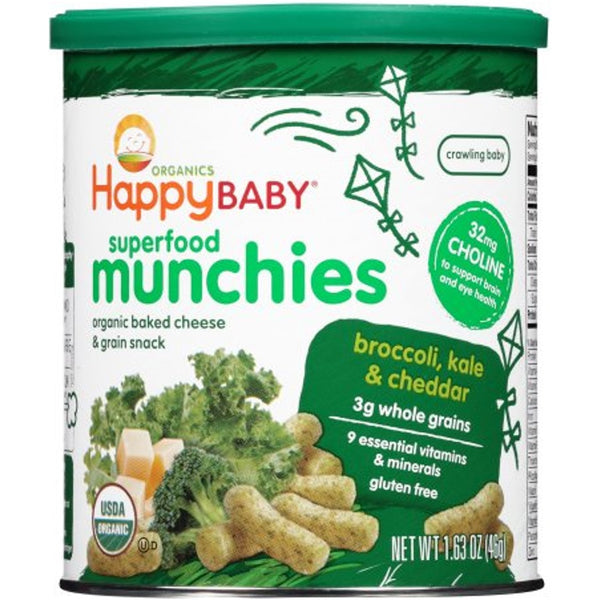 Happy Family Happy Baby Superfood Munchies - Broccoli/Kale/Cheddar 46g