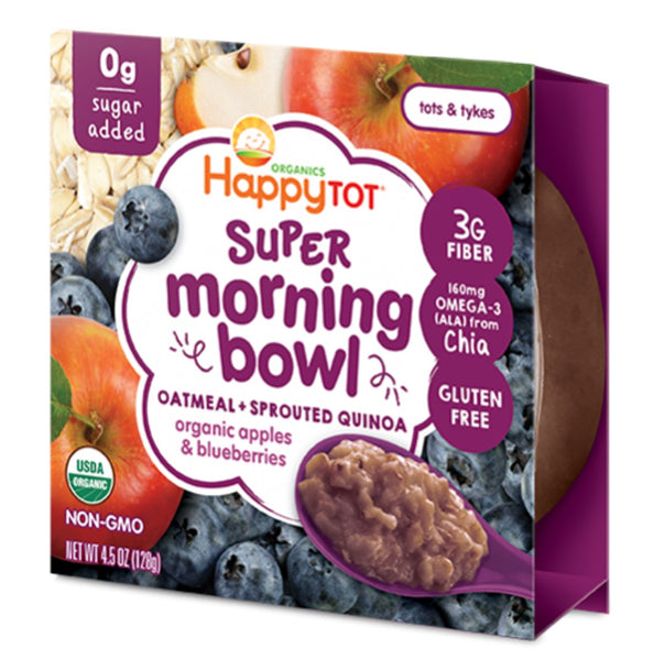 Happy Family Happy Tot Super Morning Oatmeal Bowl - Apples & Blueberries, 128 g.
