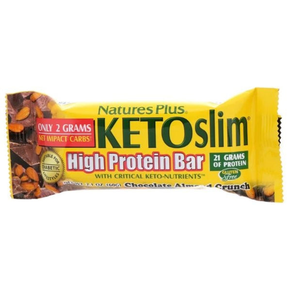 Natures Plus Ketoslim High Protein Bar - Chocolate Almond Crunch, 60 g (1 Bar Each)