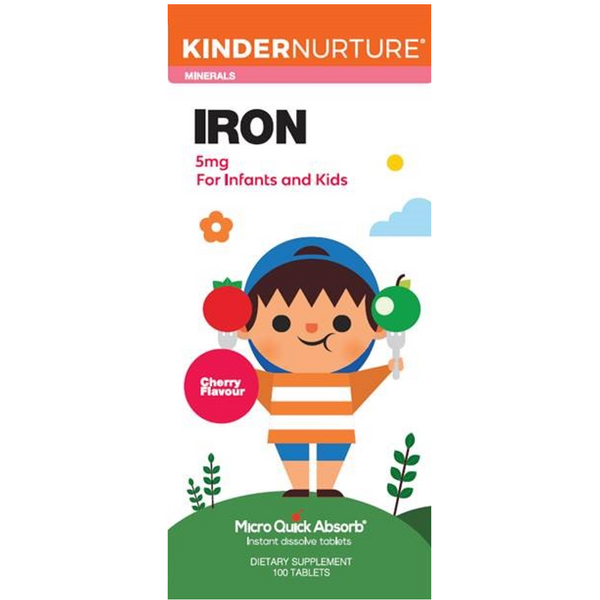 KinderNurture Iron 5mg - Cherry Flavour, 100 tabs.