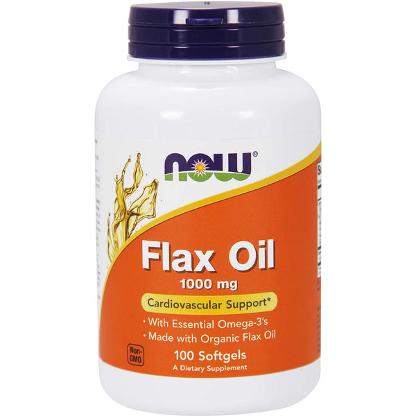 NOW Flax Oil Expeller-Pressed (Organic) 1000 mg, 100 sgls.