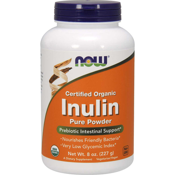 NOW Inulin Prebiotic FOS Powder (Organic), 227 g.