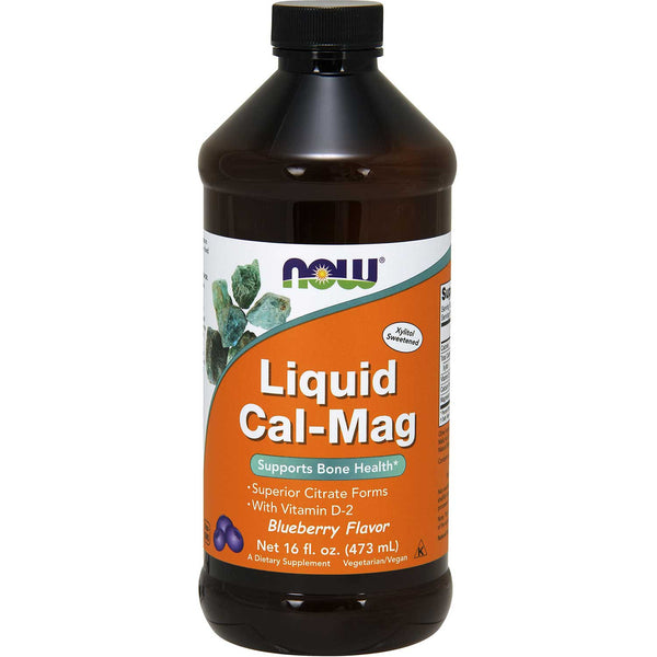 NOW Liquid Cal/Mag Citrate w/ Vit. D & Boron - Blueberry, 473 ml.