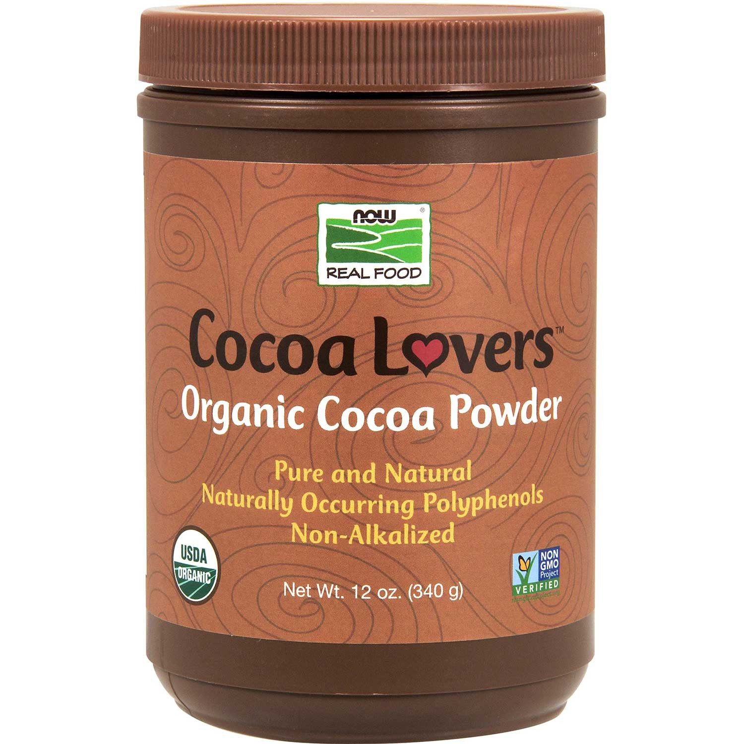 NOW Organic Cocoa Powder - Unsweetened, 340 g.-NaturesWisdom