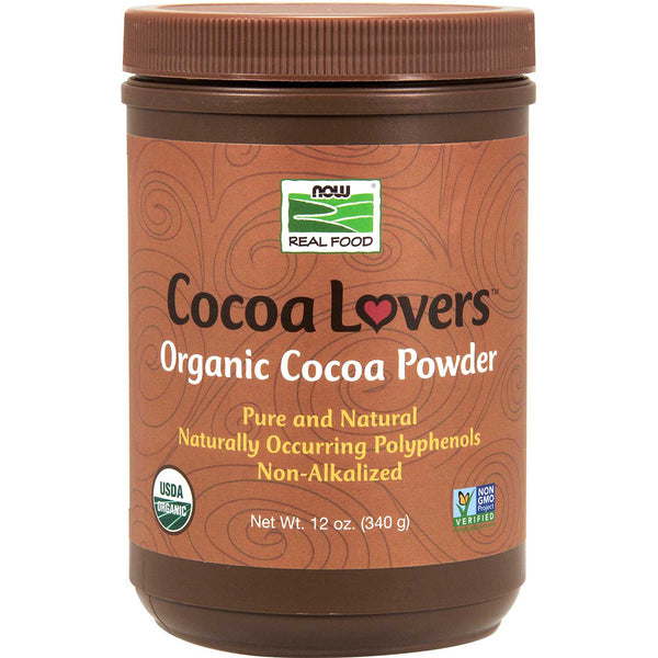 NOW Organic Cocoa Powder - Unsweetened, 340 g.