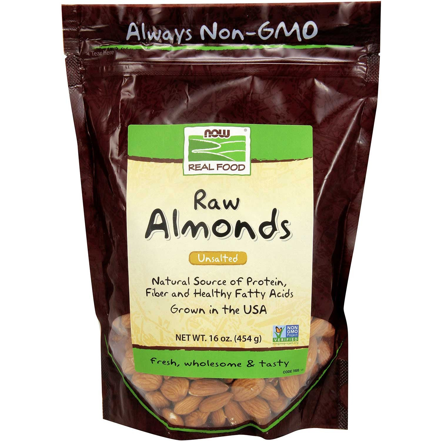 NOW Real Food Almonds - Raw, Unsalted, Unblanched, 454 g.-NaturesWisdom