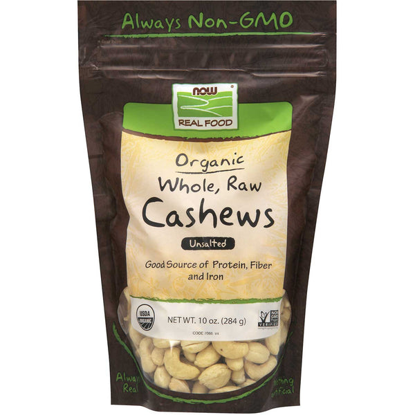 NOW Real Food Cashews - Raw, Whole, Unsalted, Organic, 284 g.