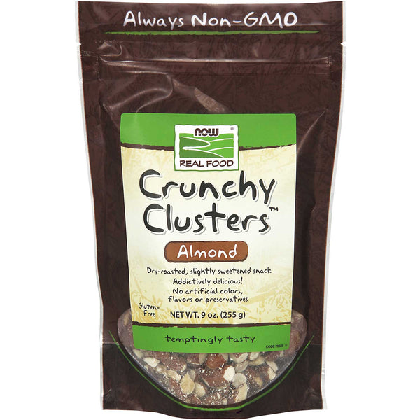NOW Real Food Crunchy Clusters Almonds - Dry Roasted, 255 g.