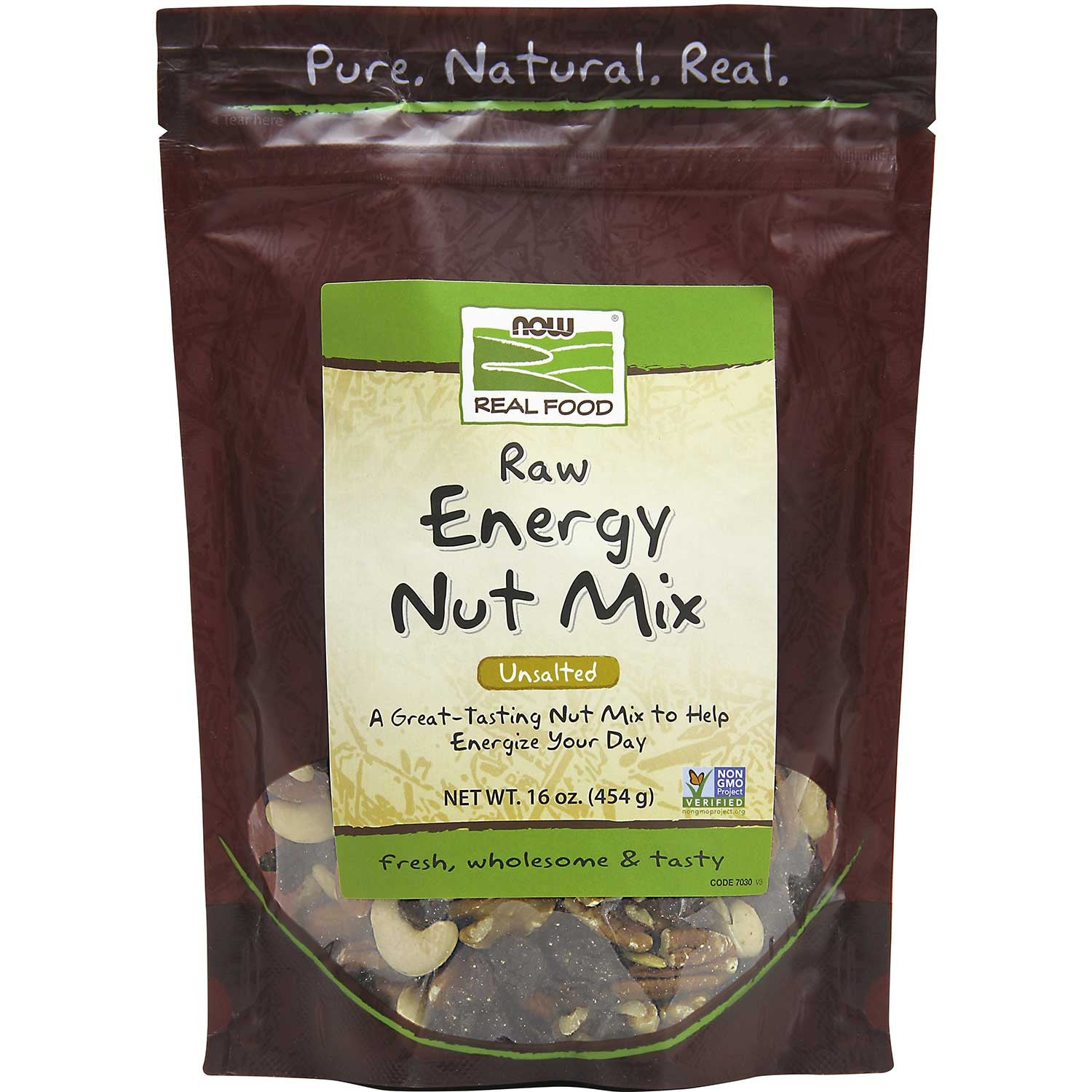 NOW Real Food Energy Nut Mix - Raw, Unsalted, 454 g.-NaturesWisdom
