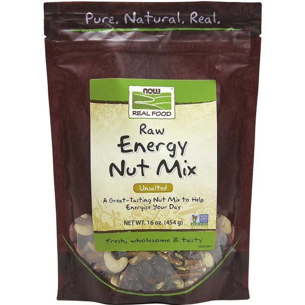 NOW Real Food Energy Nut Mix - Raw, Unsalted, 454 g.