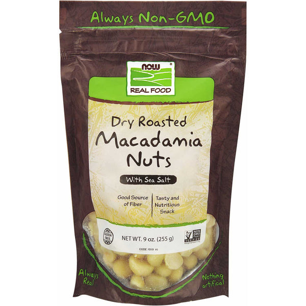 NOW Real Food Macadamia Nuts - Dry Roasted w/Sea Salt, 255 g.