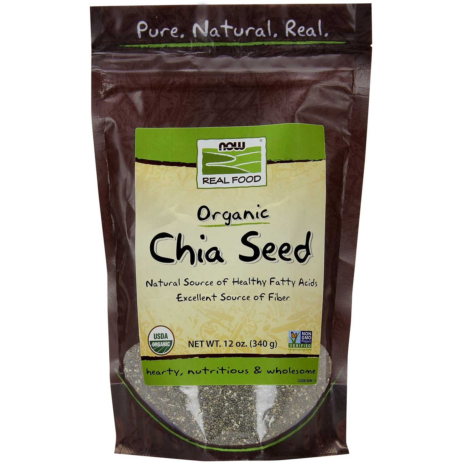 NOW Real Food Organic Chia Seeds - Black, 340g.-NaturesWisdom