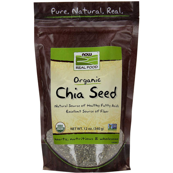 NOW Real Food Organic Chia Seeds - Black, 340g.