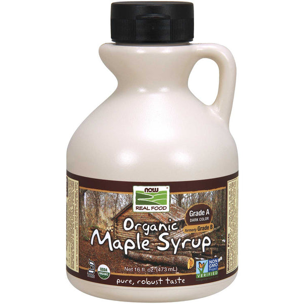 NOW Real Food Organic Maple Syrup - Grade A Dark Color, Robust Taste (formerly Grade B), 473 ml.
