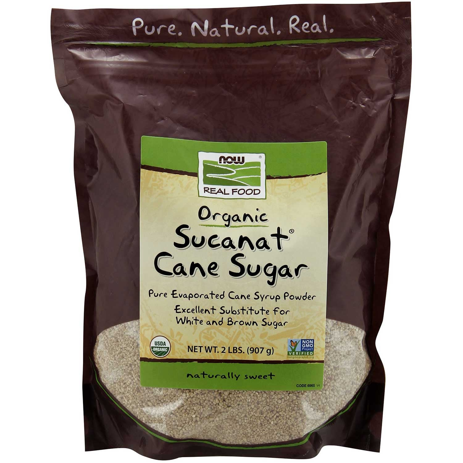 NOW Real Food Organic Sucanat Cane Sugar, 907 g.-NaturesWisdom
