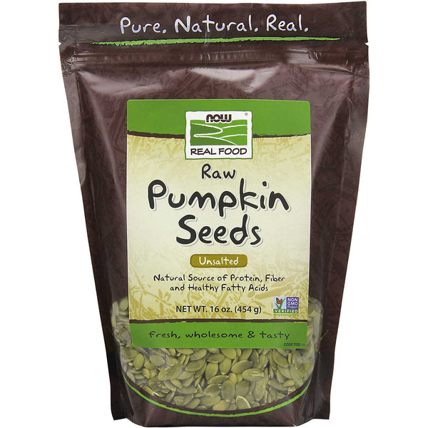 NOW Real Food Pumpkin Seeds - Raw, Unsalted, 454 g.