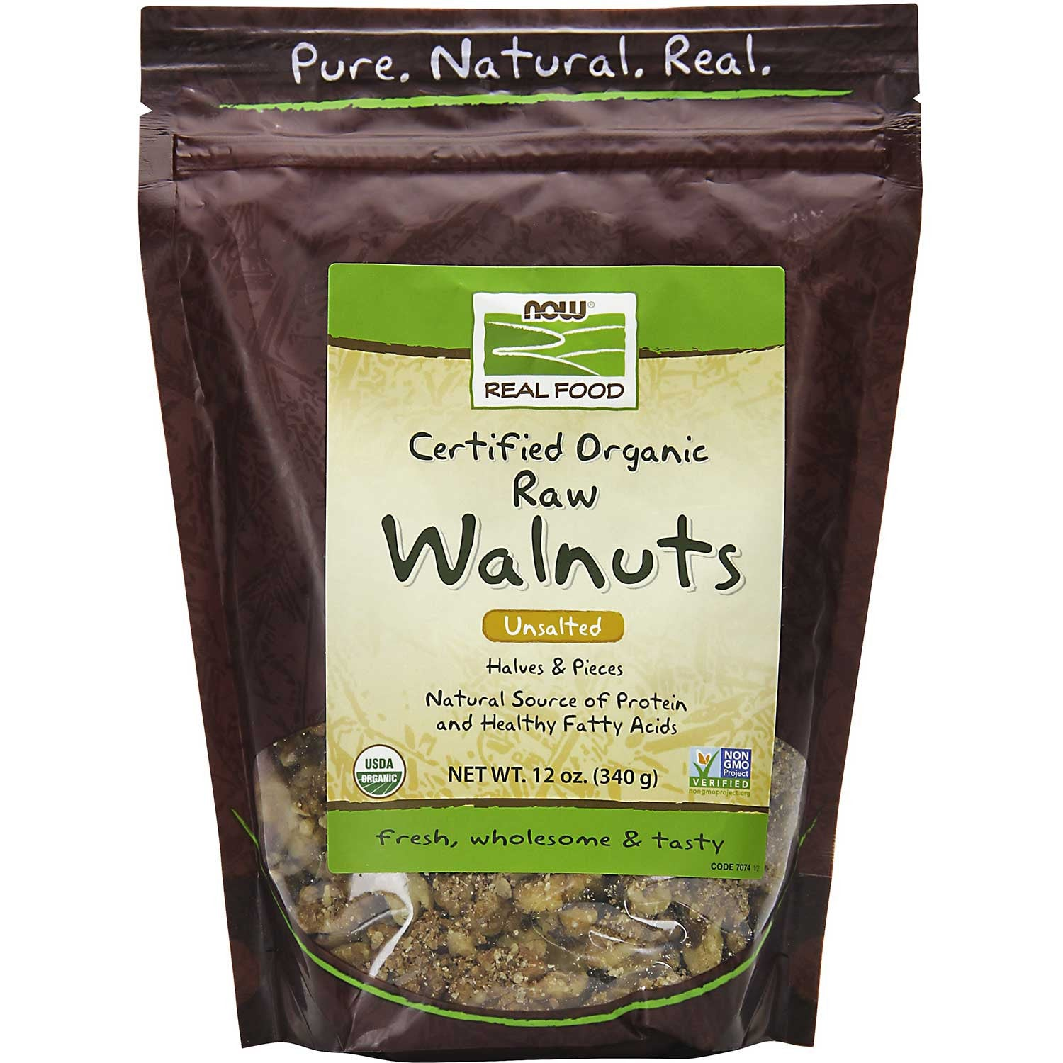 NOW Real Food Walnuts - Raw, Unsalted, Halves & Pieces, Organic, 340 g.-NaturesWisdom