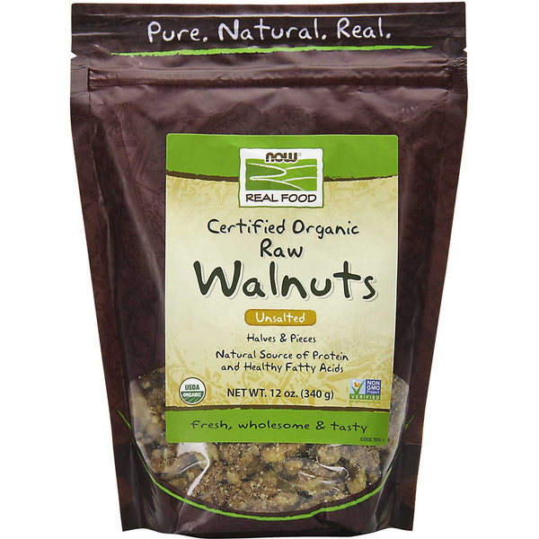 NOW Real Food Walnuts - Raw, Unsalted, Halves & Pieces, Organic, 340 g.