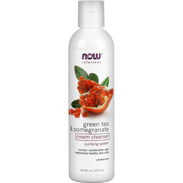 NOW Solutions Green Tea & Pomegranate Cream Cleanser, 237 ml.