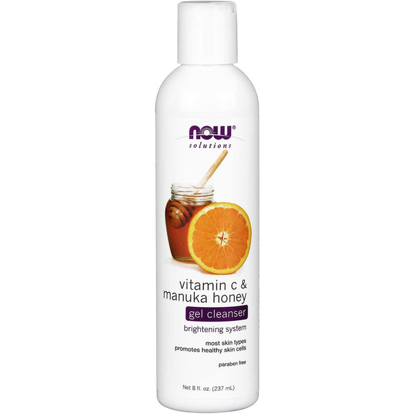 NOW Solutions Vitamin C & Manuka Honey Gel Cleanser, 237 ml.
