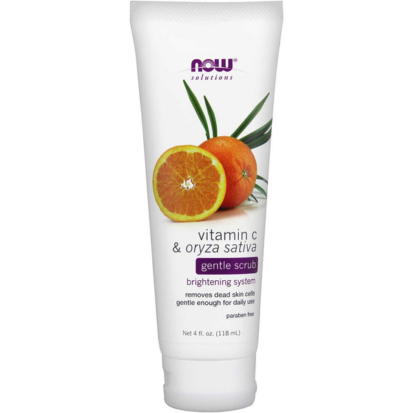 NOW Solutions Vitamin C & Oryza Sativa Gentle Scrub, 118 ml.