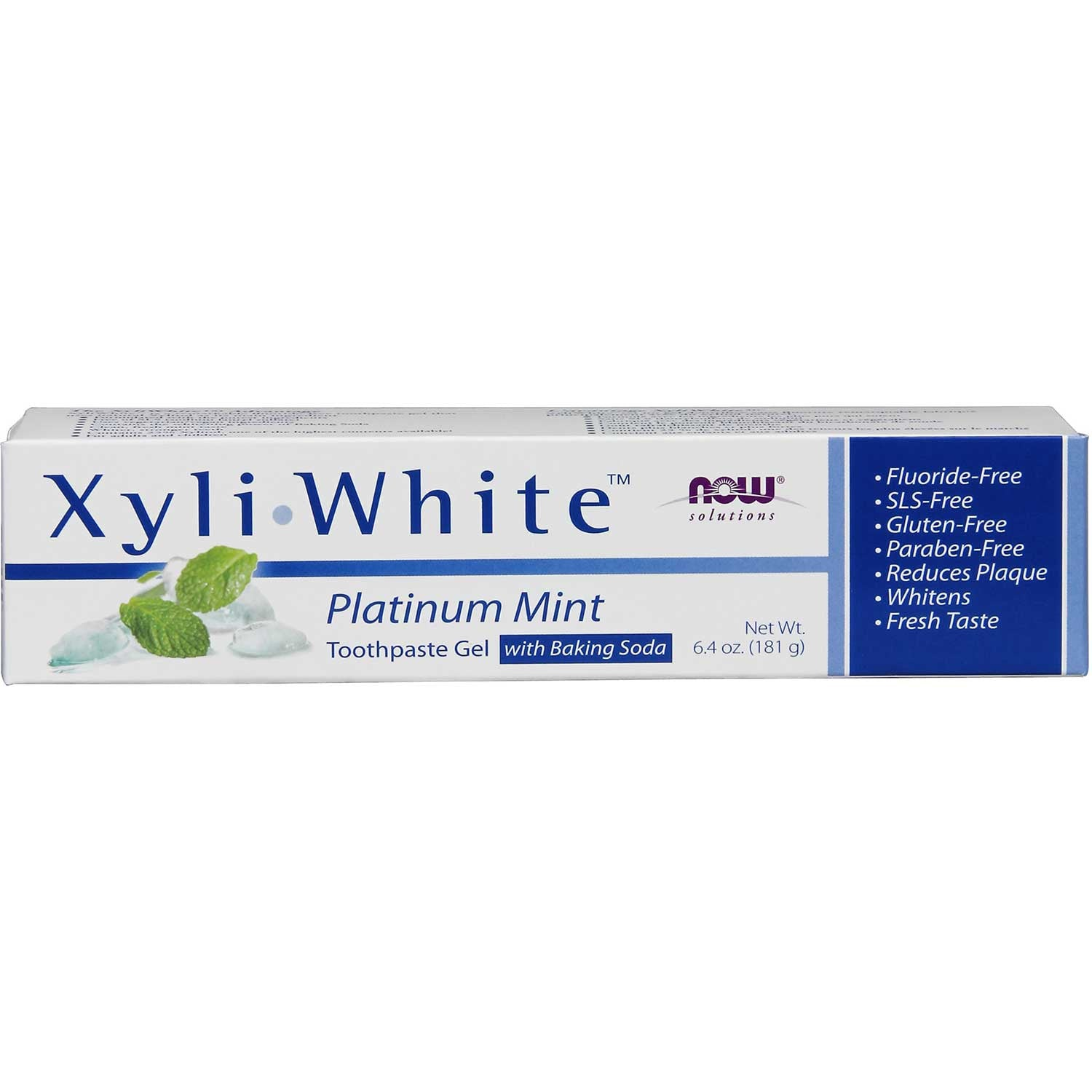 NOW Solutions XyliWhite Toothpaste Gel - Platinum Mint w/Baking Soda (Fluoride-Free), 181 g.-NaturesWisdom