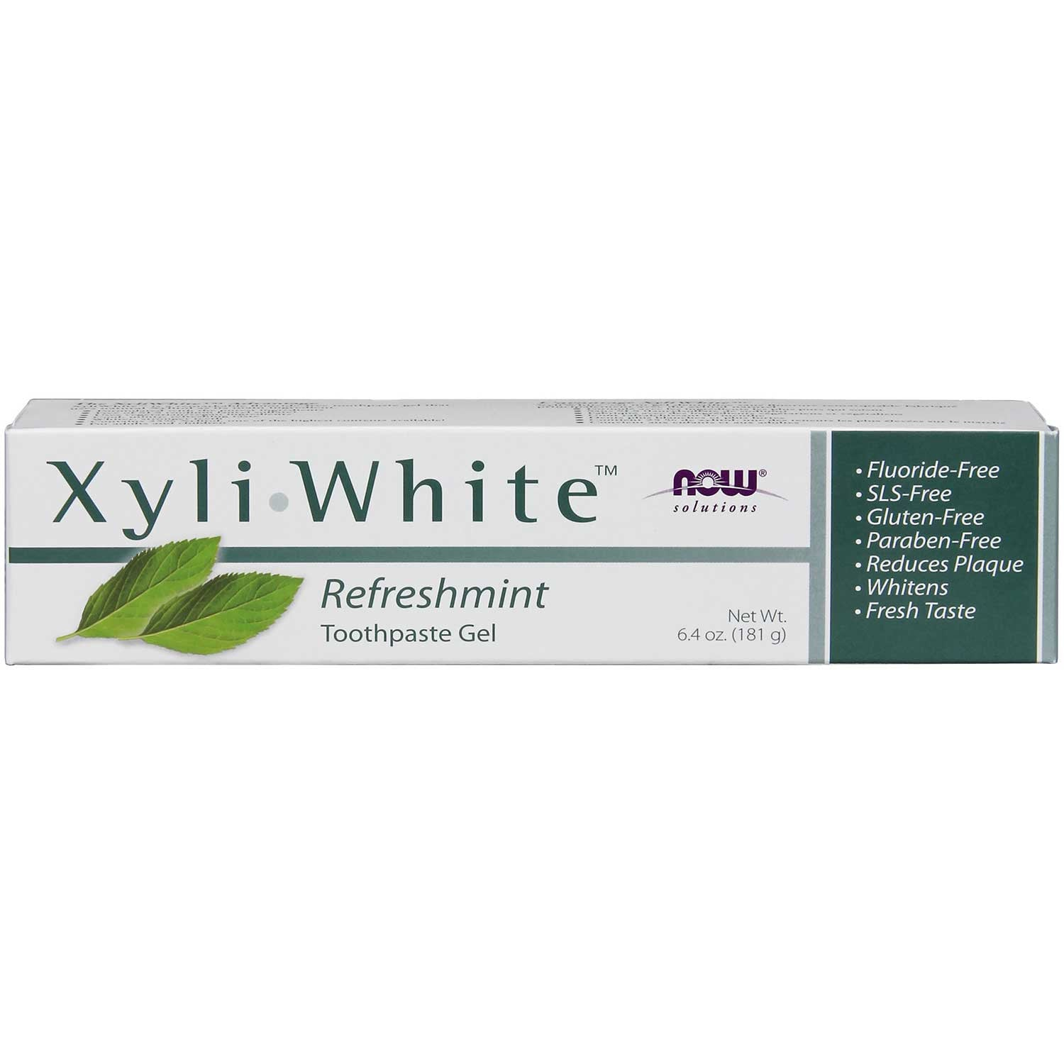 NOW Solutions XyliWhite Toothpaste Gel - Refreshmint (Fluoride-Free), 181 g.