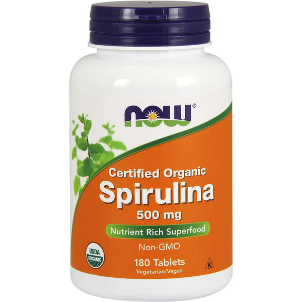 NOW Spirulina 500 mg (Organic), 180 tabs.
