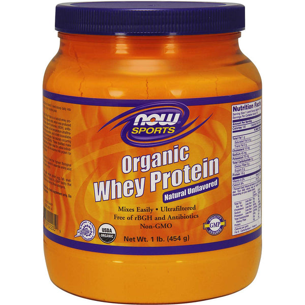 NOW Sports Whey Protein Natural Unflavored - Organic, 454 g.