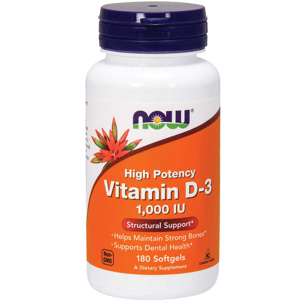 NOW Vitamin D-3 High Potency 1000 IU, 180 sgls.