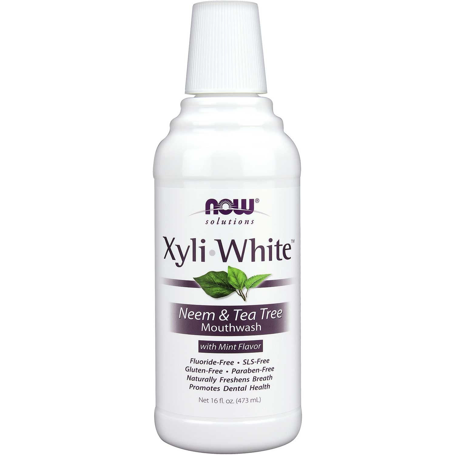 NOW XyliWhite Mouthwash - Neem & Tea Tree, 473 ml.
