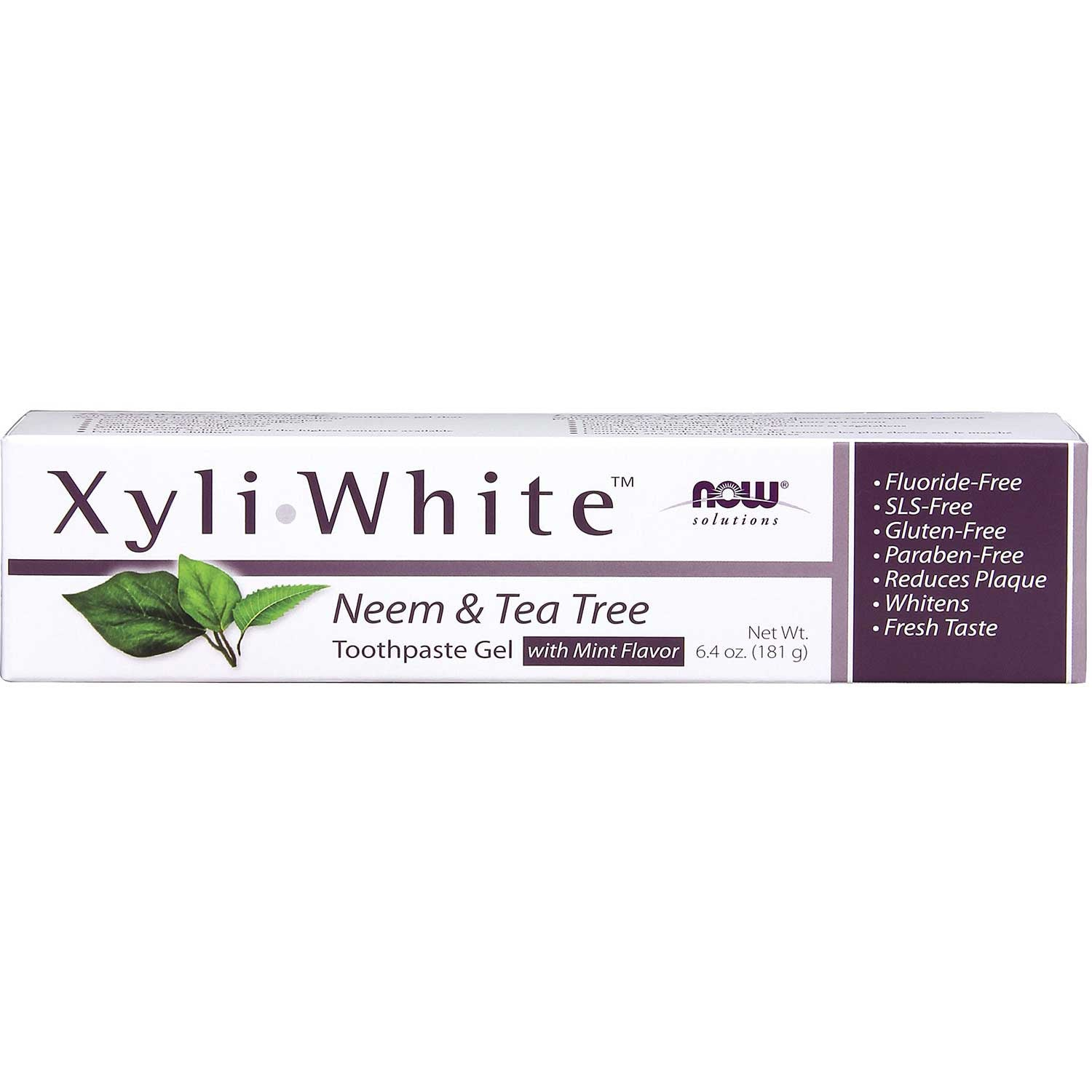 NOW XyliWhite Toothpaste Gel - Neem & Tea Tree (Fluoride-Free), 181 g.-NaturesWisdom