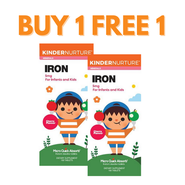 [Buy 1 Free 1] KinderNurture Iron 5mg - Cherry Flavour, 100 tabs. (EXP: 30/09/2021)