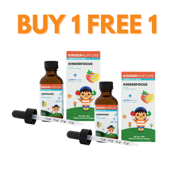 [Buy 1 Free 1] KinderNurture KinderFocus Fish Oil- Strawberry Lemonade, 60ml (Exp: 31/08/2021)