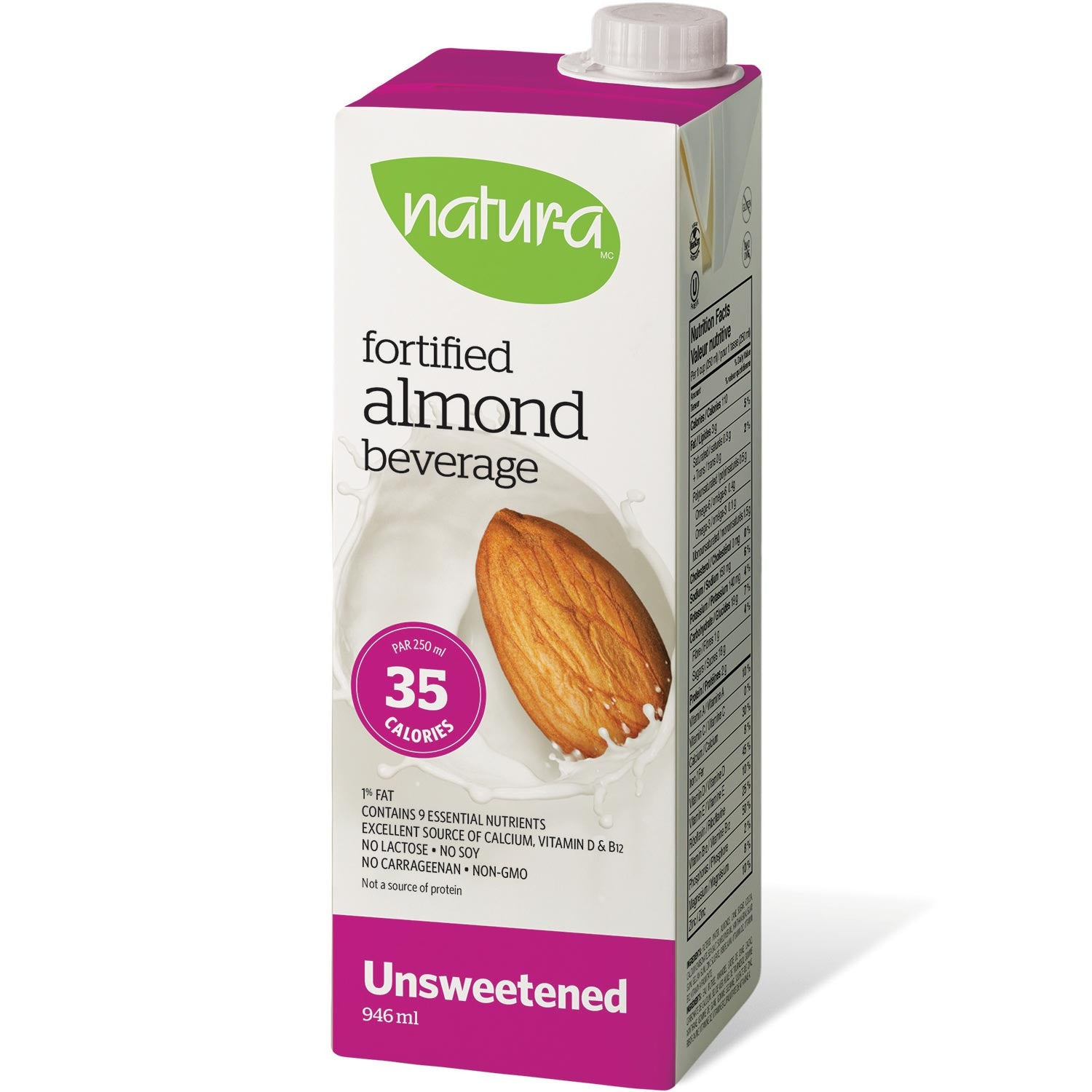 Natur-a Enriched Almond Beverage - Unsweetened, 946 ml.-NaturesWisdom