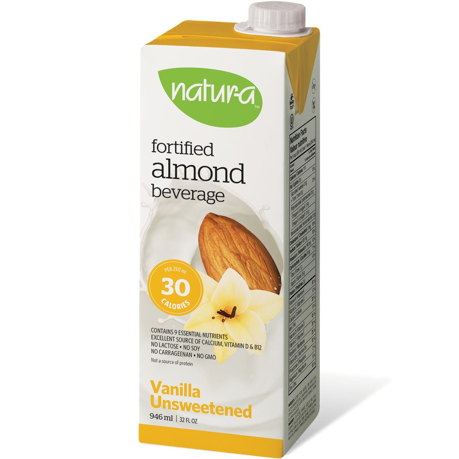 Natur-a Enriched Almond Beverage - Vanilla Unsweetened, 946 ml.-NaturesWisdom