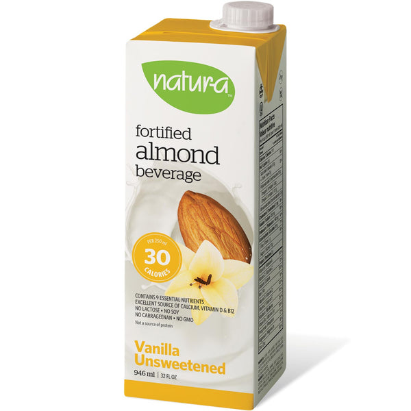 Natur-a Enriched Almond Beverage - Vanilla Unsweetened, 946 ml.