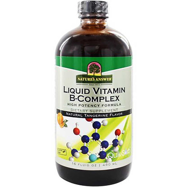 Nature's Answer Vitamin B complex Platinum Liquid - Natural Tangerine Flavor, 480 ml.