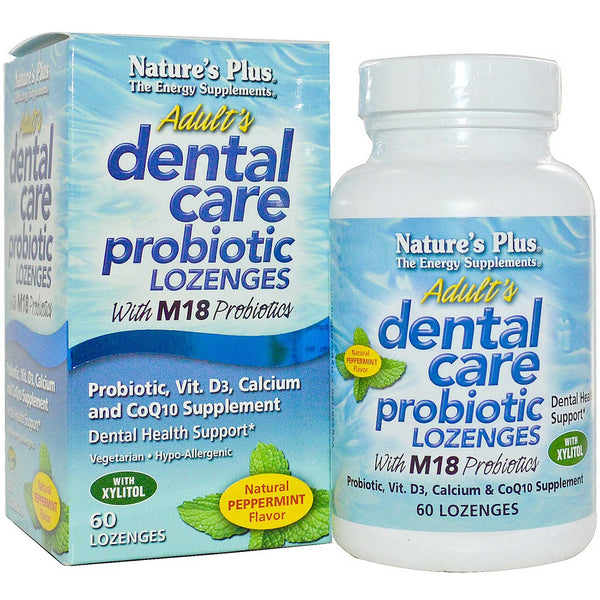 Natures Plus Adult's Dental Care Probiotic Lozenges - Peppermint, 60 tabs.