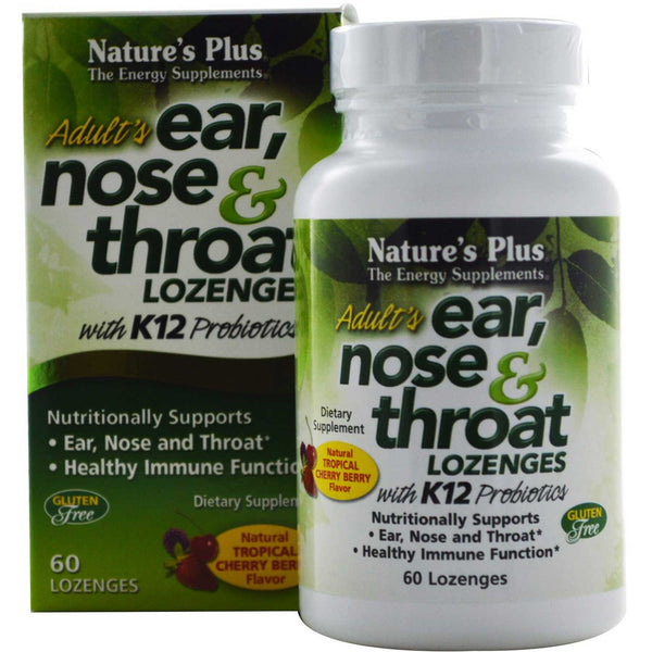 Natures Plus Adult's Ear, Nose & Throat Lozenges w/K12 Probiotics -Tropical Cherry Berry, 60 lozs.
