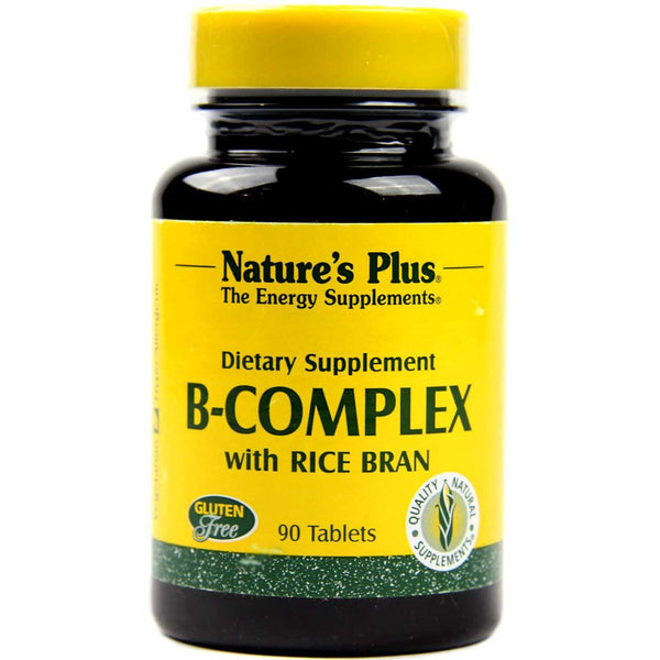 Natures Plus B-Complex w/Rice Bran, 90 tabs.