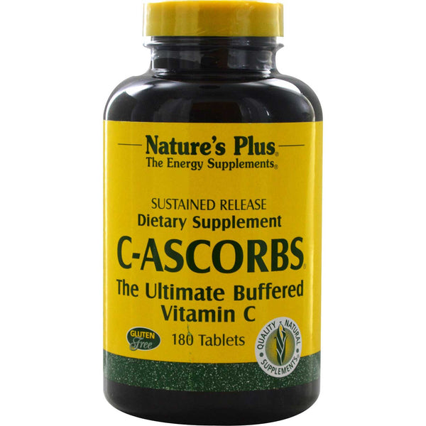 Natures Plus C-Ascorbs, The Ultimate Buffered C S/R, 180 tabs.