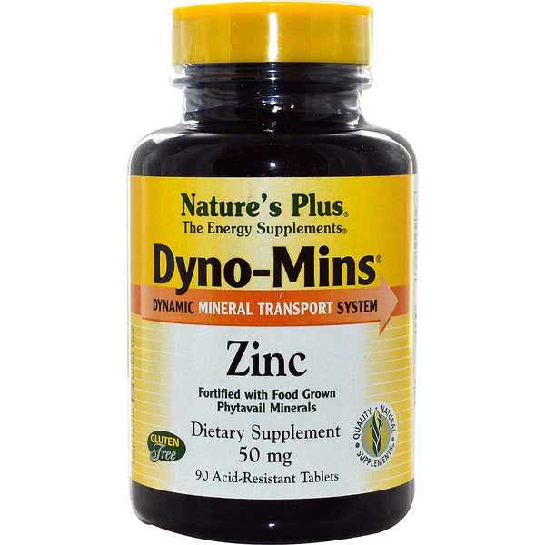 Natures Plus Dyno-Mins Zinc 50 mg, 90 tabs.
