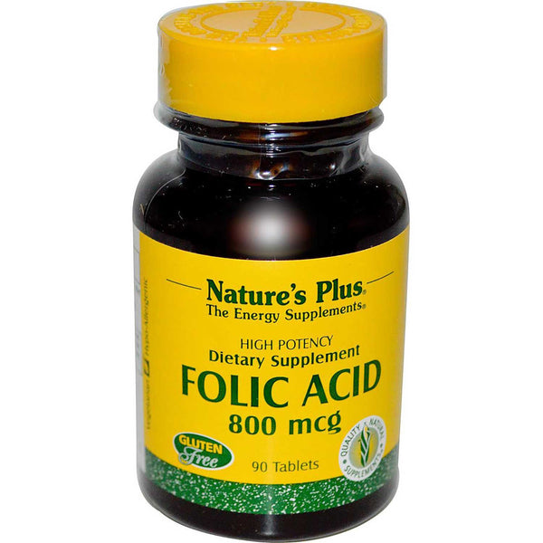 Natures Plus Folic Acid 800 mcg, 90 tabs.