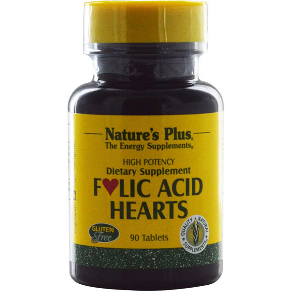 Natures Plus Folic Acid Hearts, 90 tabs