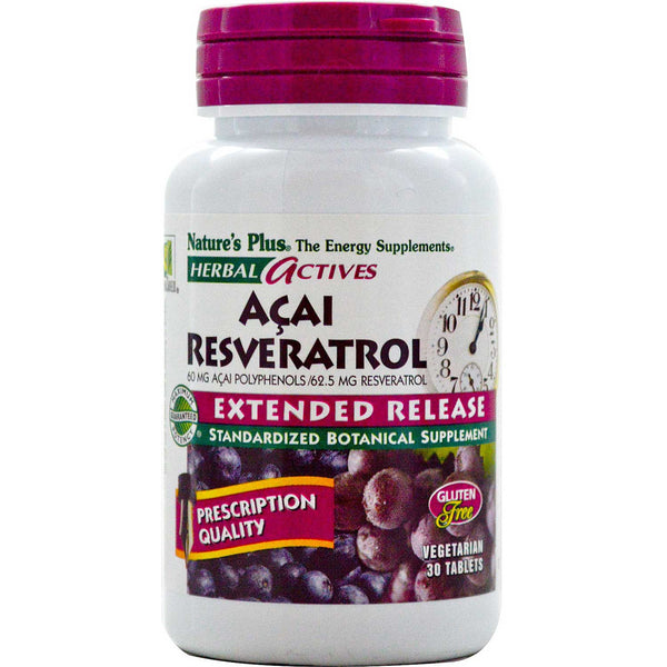 Natures Plus HerbalActives Acai Resveratrol Extended Release Tablets, 30 tabs.